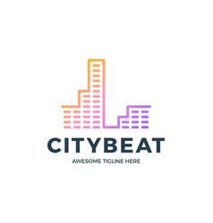 city audio sound wave logo template stock design vector image