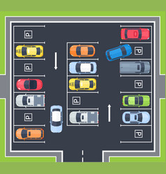 city top view parking with cars vector image