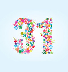 Colorful floral 31 number design isolated on vector
