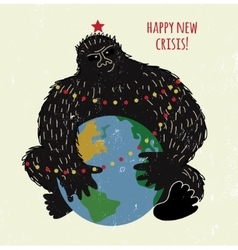 Crisis monkey and world card or placard vector image