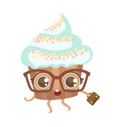 Cupcake in glasses with suitcase cute anime vector