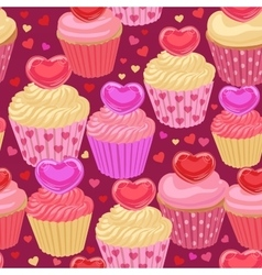 Cupcakes with hearts seamless pattern vector