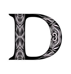 d -capital letter - black white design vector image