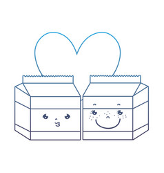 Degraded line kawaii nice milk box couple vector