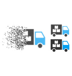 Dissolved dot halftone goods transportation car vector