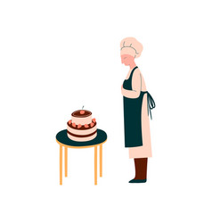 female cook making and decorating cake vector image