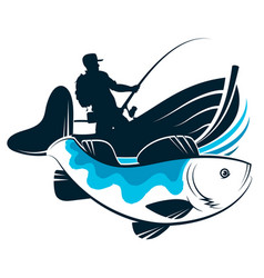 fisherman in a boat with fishing rod design vector image