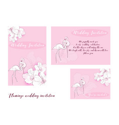 flamingo wedding invitation vector image