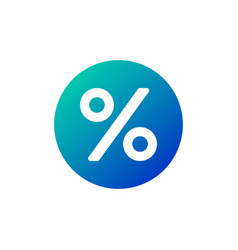 flat percent icon in circle isolated on white vector image