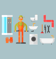 flat set with plumber tools for repair and vector image