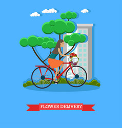 Flower delivery in flat style vector