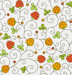 Flowers and clover leaves vector