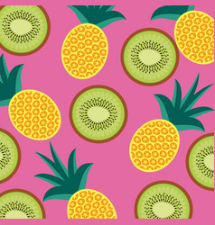 food fruit pineapple and kiwi seamless pattern vector image
