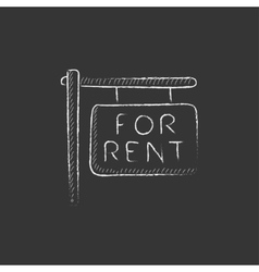 For rent placard Drawn in chalk icon vector image