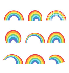 Geometric rainbow shapes set colorful curves vector
