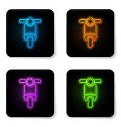 glowing neon scooter icon isolated on white vector image