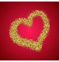 Gold glitter Valentines Day heart on red gradient vector