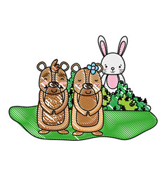 grated nice bear couple with rabbit in the bush vector image