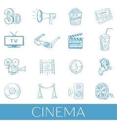 Hand drawn cinema icon set vector