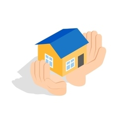 Hands holding a house icon isometric 3d style vector