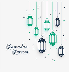 Hanging lamps decoration for ramadan kareem vector