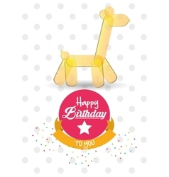 happy birthday card giraffe ballon shape confetti vector image