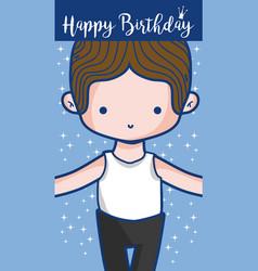 Happy birthday card with cute boy dancer vector