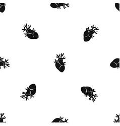 Heart pattern seamless black vector