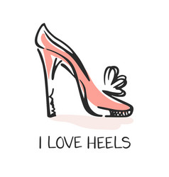I love heels fashion emblem vector