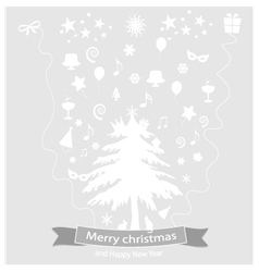 Icon christmas and happy new year vector image