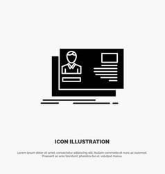 Id user identity card invitation solid glyph icon vector