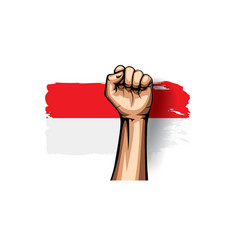 Indonesia flag and hand on white background vector