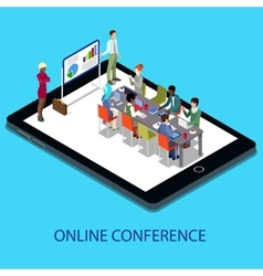 Isometric Online Conference Business Presentation vector