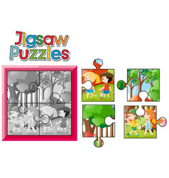 Jigsaw puzzle game with kids camping out vector