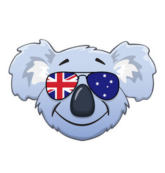 Koala face with australian flag sunglasses vector