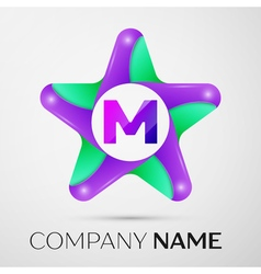 Letter M logo symbol in the colorful star on grey vector
