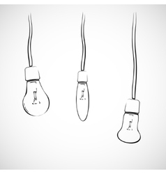 Light bulbs on wires vector image