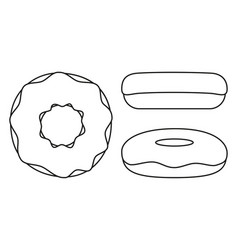 line art black and white donut set vector image