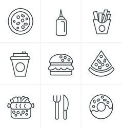 Line Icons Style Fast Food Icons vector