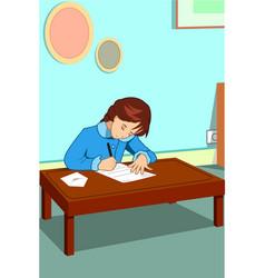 Little girl writing a letter vector