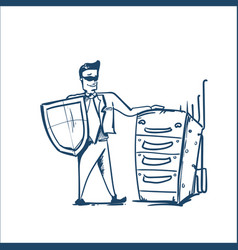 man in business suit shield standing near raw of vector image