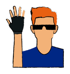 Man in virtual reality glasses and glove gaming vector