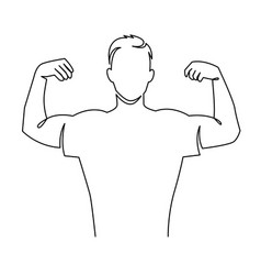 Man shows bicep continuous one line drawing vector