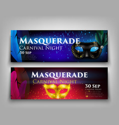 Masquerade invitation banners vector