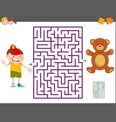 Maze game with cartoon boy and teddy bear vector