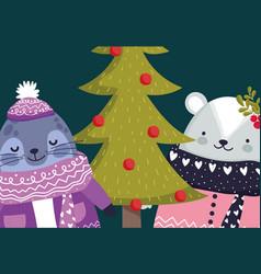 merry christmas celebration cute monk seal vector image
