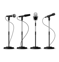 microphones on stands stage standing microphones vector image