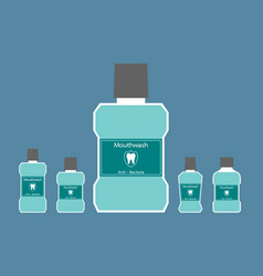 Mouthwash bottle with a tooth on label vector