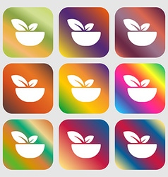 Organic food icon sign Nine buttons with bright vector image