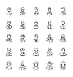 Professions doodle icons set vector
